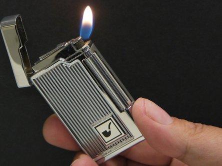 Pfeifenfeuerzeug PASSATORE chrom poliert mit Streifen