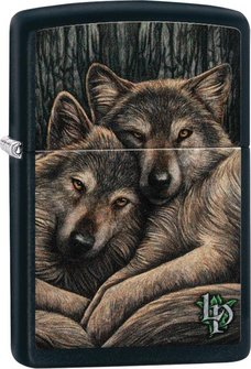 "Org.ZIPPO schw. ""Lisa Parker 2 Wolfes snuggling"" 60004494"