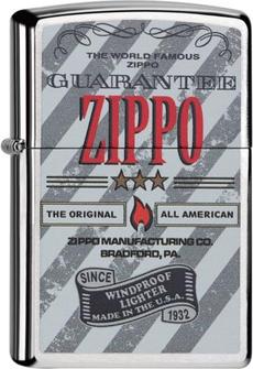 "Org.ZIPPO chrom gebürstet color ""Zippo Guarantee"" 60000068"