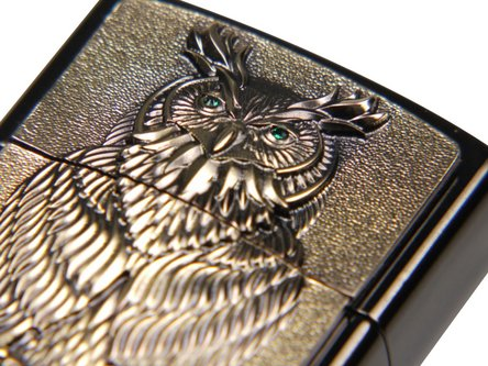 "Org.ZIPPO Ebony Emblem messing ""Owl of Wisdom"" Ha"