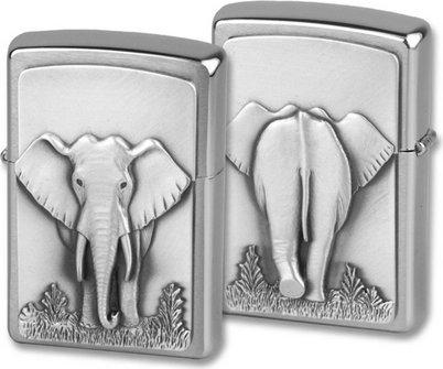 "Org.ZIPPO chrom geb. ""Elefant"" in Spiegelbox"