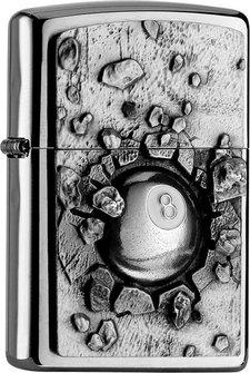 "Org.ZIPPO chrom geb. Plakette ""Eightball"" 2004738"