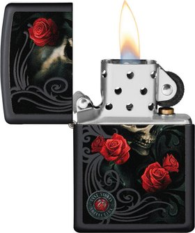 """Org.ZIPPO schwarz color """"Anne Stokes Roses/Skull"""" 60004499"""