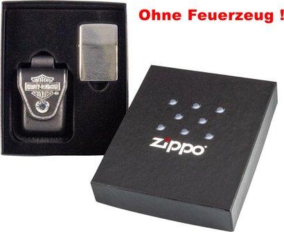 Org.ZIPPO Geschenkset Ledertasche H.D schw./Schlaufe60000742