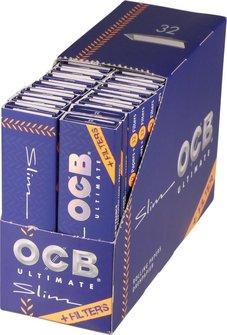 OCB Ultimate EXTRA LONG Slim Zigtt.-Papier+ Tips (je 32 Hf.)