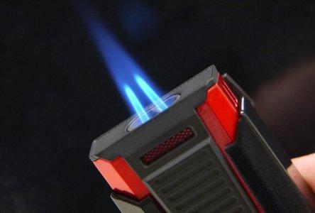 """COLIBRI Cigarren-Feuerzeug """"Slide"""" chrom geb./schwarz Laser"""