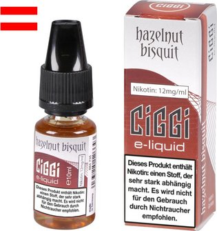 AT CIGGI Liquid Hazelnut Bisquit 12mg/ml Nikotin 10 ml