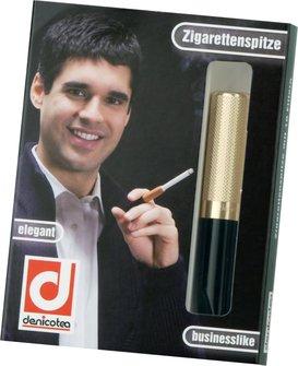 DENICOTEA Zigarettenspitze Automatic golden/guillochiert