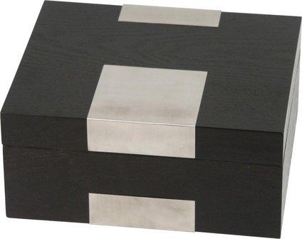 Humidor Echtholzfurnier schwarz matt für ca. 25 Cigarren