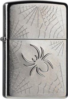 "Org.ZIPPO street chrome grav.""Stamped Spider Web"" 60001107"