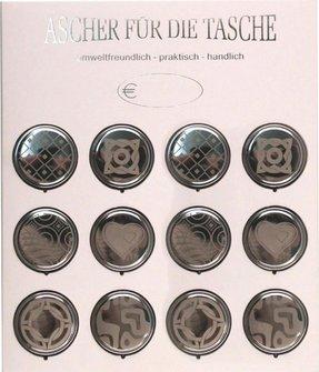 Taschenascher LaserArt sortiert auf Displaykarte