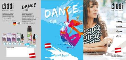CIGGI Liquid + Dance Shake & Vape Aromakarte DIN A5 - AT