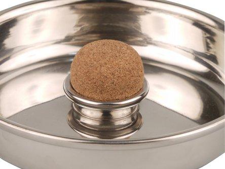 Pfeifenascher Zinn rund mit Kork 15cm