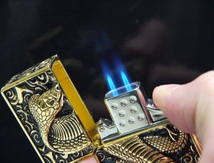"""STAR Double Jet Feuerzeug  gold """"Kobra"""""""