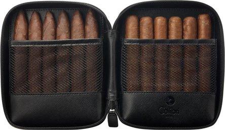 """COLIBRI Cigarren-Reiseetui""""Explorer""""Leder schwarz f.12  Cig."""