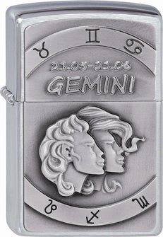 "Org.ZIPPO cr. geb. Plakette ""Gemini"" 2002074"