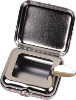 Taschenascher eckig chrom matt