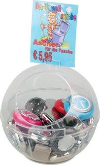Taschenascher-Sortiment im Acrylbehälter