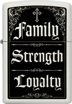 "Org.ZIPPO weiß color ""Family-Strength-Loyalty"" 60004548"