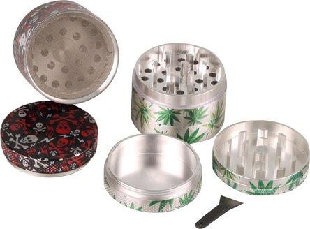 """Grinder Metall """"Skull+Cannabis"""" sortiert 4tlg, Durchm.50mm,"""