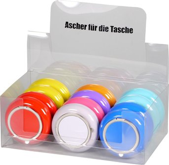 Taschenascher rund farbig sortiert mit Glutkiller