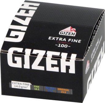 GIZEH BLACK Extra Fine (weiß) 100  Zigtt.-Papier/Magnet je20