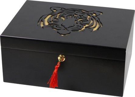 """Humidor schwarz matt mit Dekor """"Tiger"""" für ca. 75 Cigarren"""
