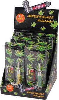 """Metallpfeife """"Cannabis"""" bunt sortiert  10.5 cm"""