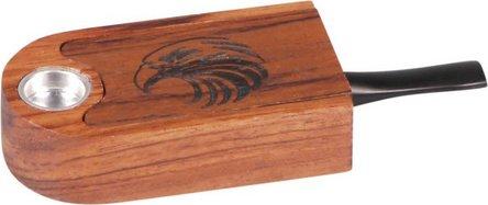 Holzpfeife 9,5 cm lang mit Aufbewahrungsfach u.Schiebedeckel