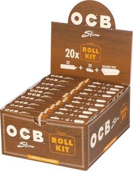OCB EXTRA LONG Slim Virgin Roll Kit Zigtt.-Pap.+Tips (je 20)