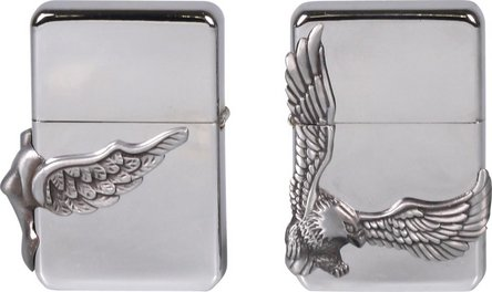 "COOL Benziner chrom pol.m. Emblem ""Wings""+ Jet Einsatz sort."