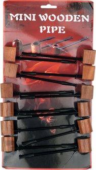 Holzpfeife mini 110mm Redwood natur sortiert auf 12er Karte