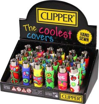 "Clipper Mehrweg-Feuerzeug Pop Cover ""Hippie"" sortiert  Sz"