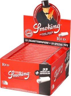 SMOKING KINGSIZE ROT Extra Fine Zigtt.-Papier+Tips(je24 Hf.)
