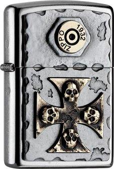 """Org.ZIPPO street cr. Plakette TT """"Skull Cross"""" 2004746"""