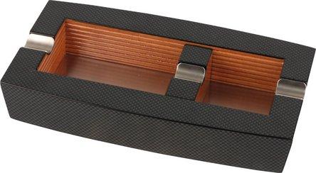 Cigarrenascher Holz Carbondesign,2 Abl/.bewegl.Zusatzablage