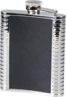 Flachmann Edelstahl/Leder schwarz/chrom    6oz/180ml
