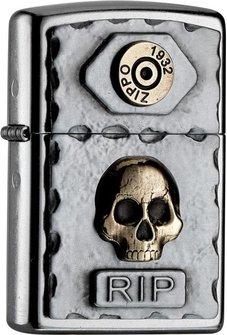 """Org.ZIPPO street cr. Plakette TT """"Skull RIP"""" 2004748"""