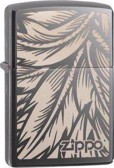 "Org.ZIPPO Black Ice gelasert ""Feather"" 60004559"
