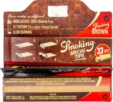 SMOKING KINGSIZE BROWN Zigtt.-Papier + Tips (je 24 Hf.)