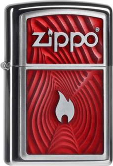 "Org.ZIPPO chrom pol. Plakette ""Red 3D Flame"" 2004535"