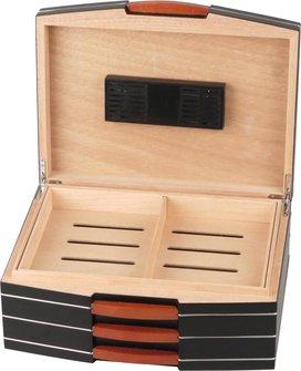 Humidor schwarz Finish matt für ca. 75 Cigarren