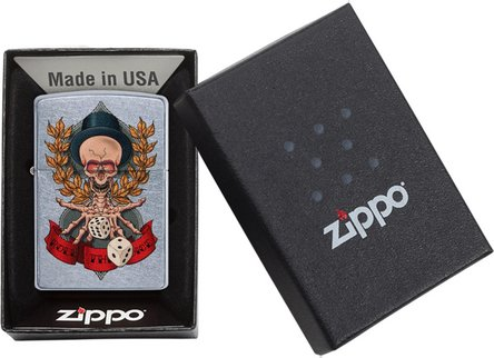 "Org.ZIPPO street chrom color ""Skeleton/Dice"" 60004572"