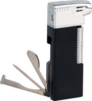 Pfeifenfeuerzeug PASSATORE schwarz matt/chrom poliert Sz