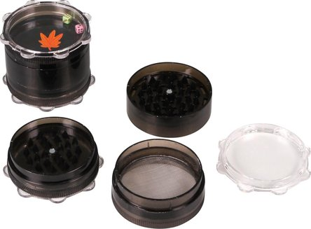 Grinder Kunststoff 4tlg., mit Würfeln, Ø 60mm, farbig sort.