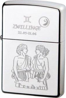 """Org.ZIPPO chrom poliert """"Zwillinge"""" Ha"""