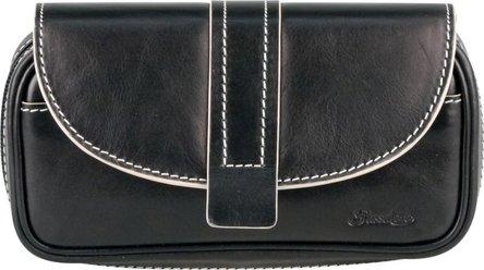 PASSATORE Pfeifentasche Leder schwarz mit Überschlag 2er