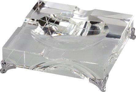 Cigarrenascher Kristallglas/quadratisch Metallfüße 4 Ablagen