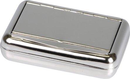 Tabakdose nickel poliert mit Papierhalter 10x7cm