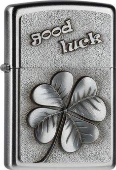 "Org.ZIPPO satin finish Emblem ""Good Luck  - Clover"" 2004509"